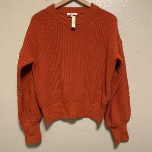 Madewell rust orange balloon sleeve sweater